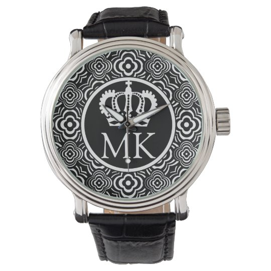 Monogrammed Black Peddler Big Boss Wrist Watch