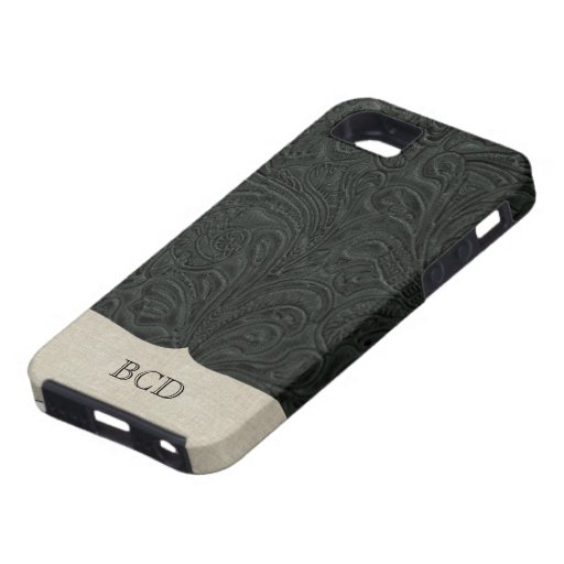 Monogrammed Black Tooled Leather Look Country iPhone 5 Cover