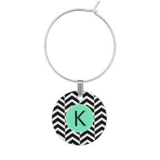 Monogrammed Black, White Sea Foam Chevron Pattern Wine Charm