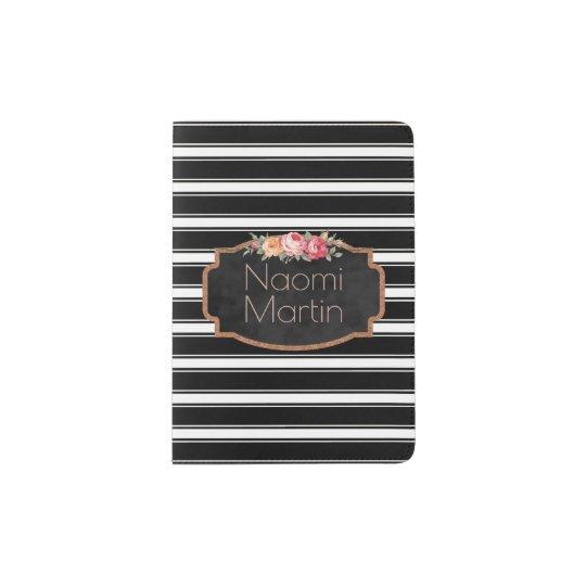 Monogrammed Black White Stripes Floral Chalkboard Passport Holder