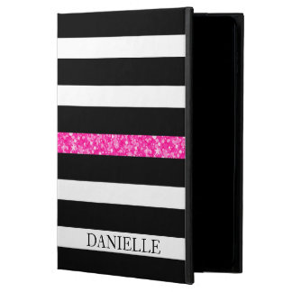 Monogrammed Black & White Stripes Pattern Powis iPad Air 2 Case