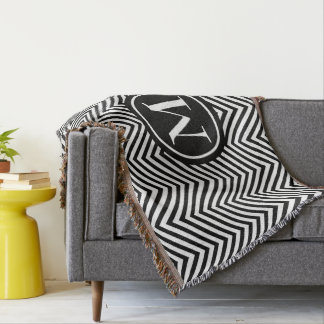 Monogrammed Black & White Zigzag - Throw Blanket 1