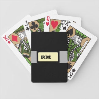 Monogrammed black yellow bicycle playing cards