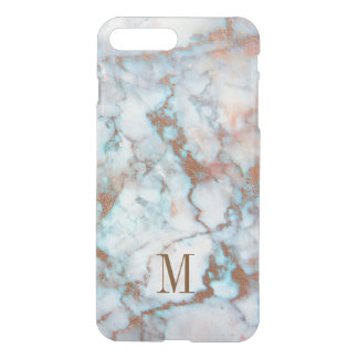 Monogrammed Blue And Gray Marble Brown Glitter iPhone 8 Plus/7 Plus Case