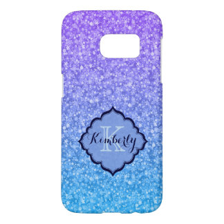 Monogrammed Blue And Purple Glitter Pattern