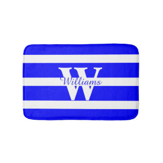 Monogrammed Blue and White Bath Mat