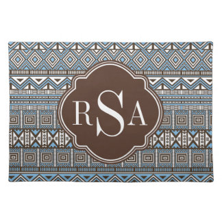 Monogrammed Blue Brown Tribal Pattern Placemat