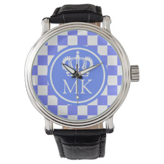 Monogrammed Blue Checkered Big Boss Wrist Watch