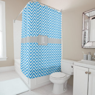 Monogrammed Blue Chevron Striped Shower Curtain