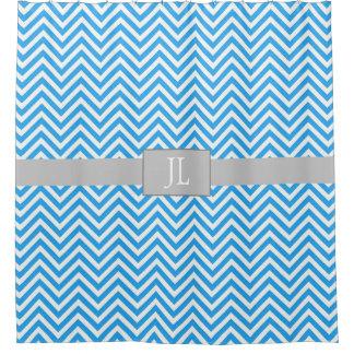 Monogrammed Blue Chevron Striped Shower Curtain