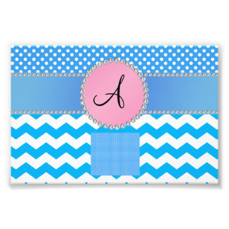 Monogrammed blue chevrons blue polka dots photograph