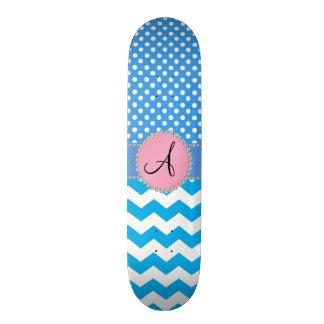 Monogrammed blue chevrons blue polka dots skate boards