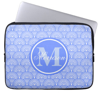 Monogrammed Blue Fish Scale Laptop Sleeve