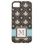 Monogrammed Blue Fleur de Lis iPhone 5 Covers
