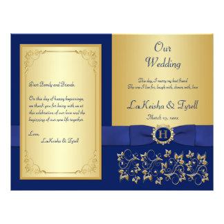 Monogrammed Blue, Gold Floral Wedding Program Flyer