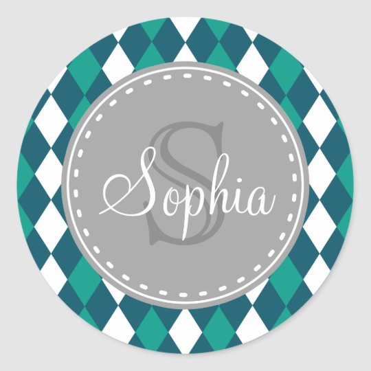 Monogrammed Blue Green Diamdons Pattern Classic Round Sticker