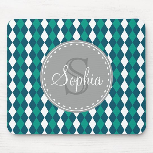 Monogrammed Blue Green Diamdons Pattern Mouse Mat
