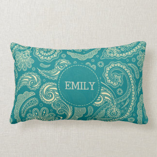 Monogrammed Blue Green Paisley Pattern Lumbar Cushion