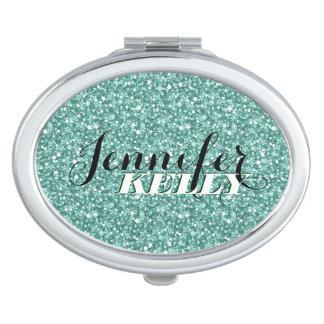Monogrammed Blue Green Retro Glitter & Sparkles Travel Mirrors
