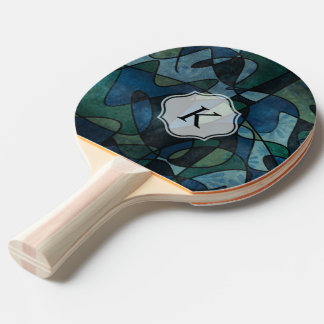 Monogrammed Blue Green Teal Digital Abstract Art Ping Pong Paddle