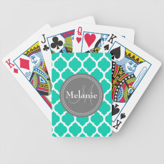 Monogrammed Blue & Grey Quatrefoil Bicycle Playing Cards