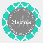 Monogrammed Blue & Grey Quatrefoil Round Stickers