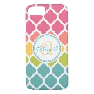 Monogrammed Blue Pink Moroccan Lattice Pattern iPhone 8/7 Case
