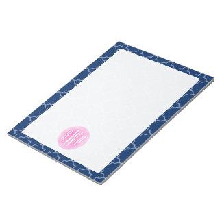 Monogrammed Blue Quatrefoil Watercolor Circle Memo Note Pad
