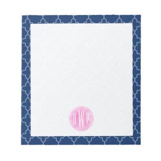 Monogrammed Blue Quatrefoil Watercolor Circle Memo Pads