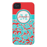 Monogrammed Blue, Red, White Damask iPhone 4