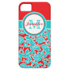 Monogrammed Blue, Red, White Damask iPhone 5 iPhone 5 Case