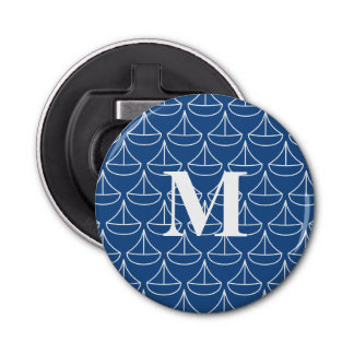 Monogrammed Blue Sailboat with custom colors Button Bottle Opener