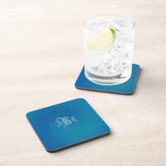 Monogrammed Blue Swirl Coaster Set