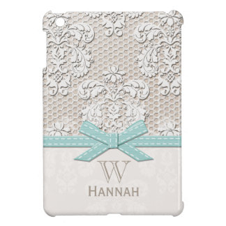Monogrammed Blue Vintage Lace Case For The iPad Mini