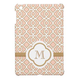 Monogrammed Blush Pink Gold Moroccan iPad Mini Cases