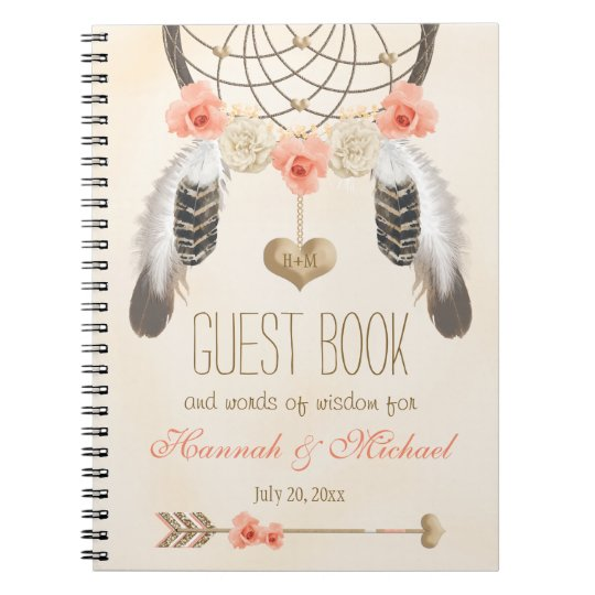 Monogrammed Boho Dreamcatcher Wedding Guest Book