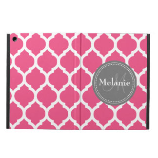 Monogrammed Bright Pink & Grey Quatrefoil iPad Air Covers