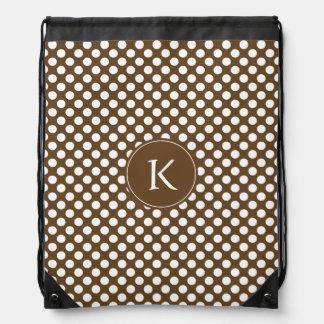 Monogrammed Brown and White Polka Dot Drawstring Bag