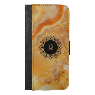 Monogrammed Brown Marble Print & Ornate Circle iPhone 6/6s Plus Wallet Case