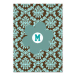"Monogrammed Brown  & Turquoise Damask Invitation 5"" X 7"" Invitation Card"