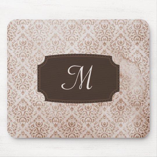 Monogrammed Brown Vintage Wallpaper Mouse Pad