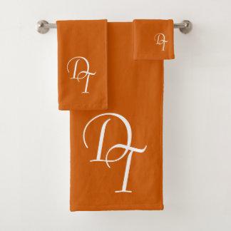 Monogrammed -  burnt orange bath towel set