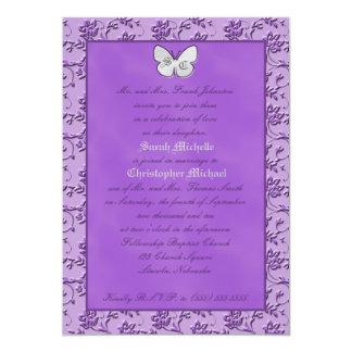 Monogrammed Butterfly on Purple Wedding Invitation