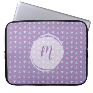 Monogrammed Candy Colour Triangle Pattern Laptop Sleeve