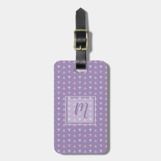 Monogrammed Candy Colour Triangle Pattern Luggage Tag