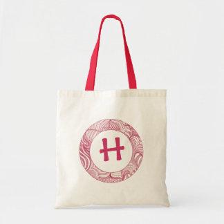 Monogrammed canvas bags, violet tote bag