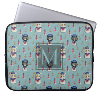 Monogrammed Cat and Dog Sailors Watercolor Pattern Laptop Sleeve