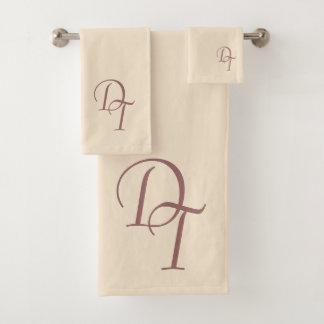 Monogrammed -  champagne color bath towel set