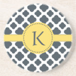 Monogrammed Charcoal and  White Quatrefoil Pattern Beverage Coasters