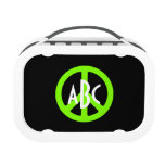 Monogrammed Chartreuse Peace Symbol Yubo Lunch Box